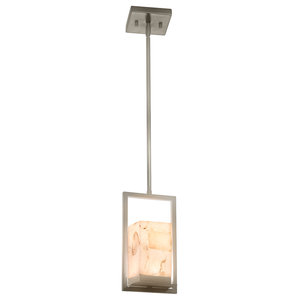 Alabaster Rocks Laguna 1-Light LED Outdoor Mini-Pendant, Brushed Nickel