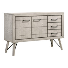 Sideboard, Cabinet and 3 Drawers, White Finish With Natural Grain Details