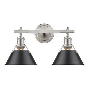 Orwell 2-Light Bath Vanity, Pewter Black Shade