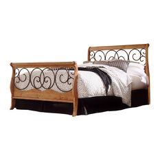 fashion bed group dunhill sleigh bed with autumn brown swirling scrolls honey oak