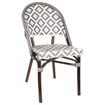 "Design Lab MN - de La Paix Aluminum Bamboo Stackable Side Chair, Gray - Wine and Dine on our ""De La PaixAluminum Bamboo Side Chairs. Exuding both charm and modern day functionality, this De La Paix Stackable Side Chair will capture anyone's eye with its intricate detailed woven rattan wrapped around its beautiful aluminum frame which resembles the unique qualities and detail of bamboo. Both style and comfort to make you feel right at home. This beautiful side chair is available in a range of beautiful colors which will surely brighten up your space. Produced by Design Lab MN, this product is manufacturer to highest standards in the furniture industry."