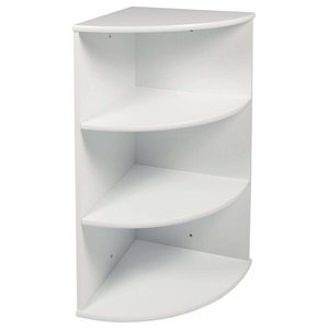 Modern Wall Mounted Corner Rack, MDF With White Finish and 4 Open Shelves