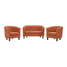 Modway 3 Piece Upholstered Fabric Loveseat And Armchair Set EEI-3149-ORA-SET