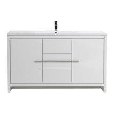 MOD 60-inch Single Sink Free Standing Vanity High Gloss White