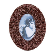 Brown Beaded Oval Picture Frame, 19x23 cm