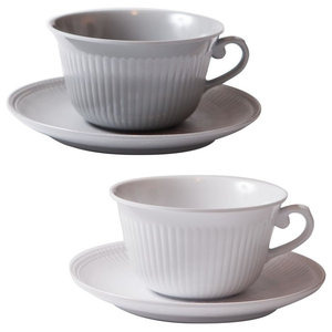 Faithful Coffee Cups, Grey and White, Set of 4