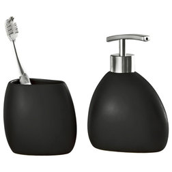 Simple Contemporary Bathroom Accessory Sets Modern Black Stoneware Piece Bathroom Accessories Set