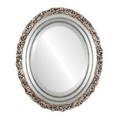 """Venice Framed Oval Mirror in Silver Leaf with Brown Antique, 23""""x29"""""""