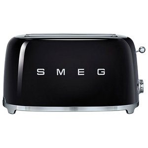 Smeg Retro 50's 4 Slice Toaster With 2 Large Slots, Black