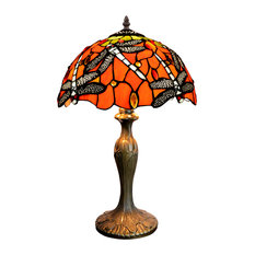 Red Tiffany-Style Table Lamp With Dragonfly Motif