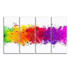"""Artistic Watercolor Splash"" Abstract Canvas Artwork, 48""x28"""