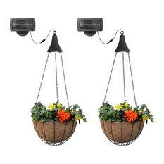 Hanging Solar Spotlight With Planter Baskets, Set of 2