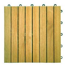 Vifah 8-Slat Acacia Interlocking Deck Tiles, Teak Finish, Set of 10