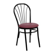 Offex Fan Back Metal Chair With Burgundy Vinyl Seat