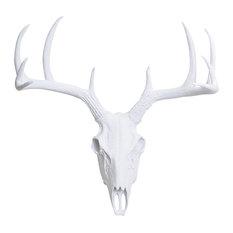Faux Resin Deer Skull Wall Mount, White