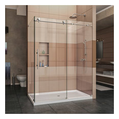 "DreamLine Enigma-X 32.5""D x 60.375""W x 76""H Sliding Shower Enclosure Steel"
