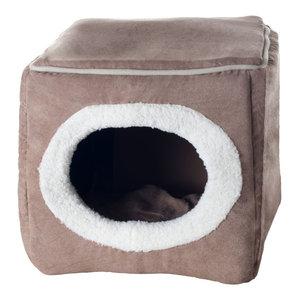 PETMAKER Cozy Cave Enclosed Cube Pet Bed Light Coffee