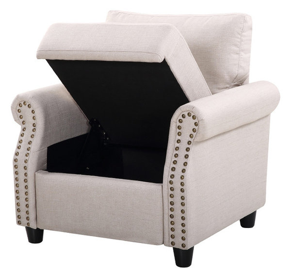 Beautiful Classic Living Room Linen Armchair With Nailhead Trim And Storage Space,  Beige