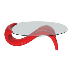 Fab Glass And Mirror   Modern Style Mermaid Coffee Table, Red   Coffee  Tables