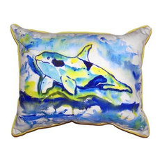"Betsy Drake Orca Extra Large Zippered Pillow, 20""x24"""