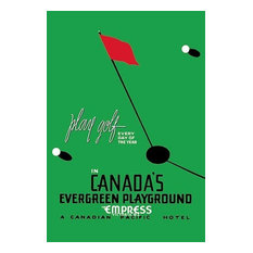 """Play Golf in Canada's Evergreen Playground"" Artwork, 28""x42"", Gallery Wrapped C"