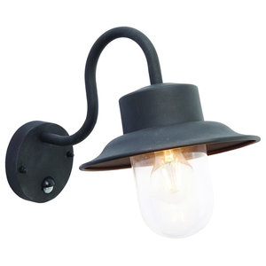 Chesham IP44 40 W PIR Single Wall Sconce, Textured Black