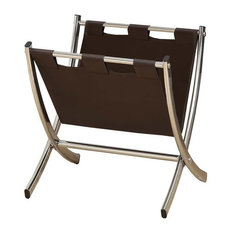 Leather-Look Magazine Rack, Chrome Metal, Brown