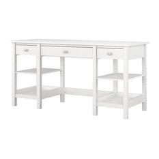 60 in. Double Pedestal Desk in White Finish