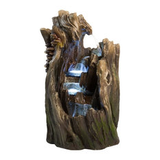Harmony Fountains 22 Walnut Log Indoor Or Outdoor Garden Fountain With Led Lights