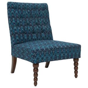 Dalhousie Button-Tufted Chair, Blue Ikat Print