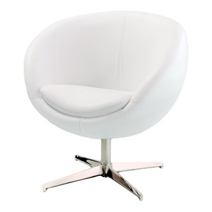Gdf Studio Kingsbury White Leather Lounge Accent Chair