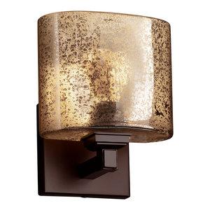 Dark Bronze Finish with Mercury Glass Shade, Justice Design Group Lighting FSN-8931-55-MROR-DBRZ Justice Design Group Modular 1-Light Bracket Fusion Rectangle