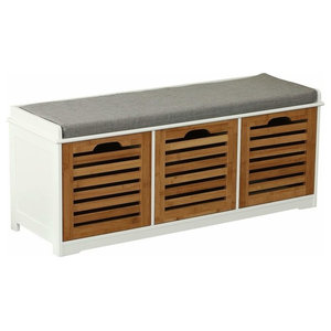 Modern Stylish Storage Bench, MDF With Drawers, Padded Cushioned Seat, Natural