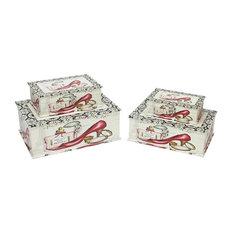 "Vintage-Style Fashion Themed Decorative Storage Boxes, Set of 4, 14"""