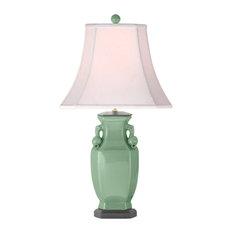 "Celadon Porcelain Chinese Vase Table Lamp 28"""