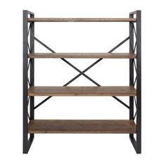 Black Metal & Wood 4 Shelves Bookcase