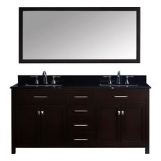 "Caroline 72"" Double Vanity Cabinet Set, White Square, Without Faucet"