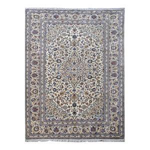 Consigned, Traditional Rug, Ivory, 8'x12', Kashan, Handmade Wool