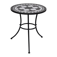 vidaXL - VidaXL Mosaic Table, Black and White, 60 cm - Garden Dining & Patio Tables