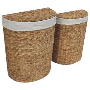 Water Hyacinth Semi-Circle Laundry Basket, Set of 2