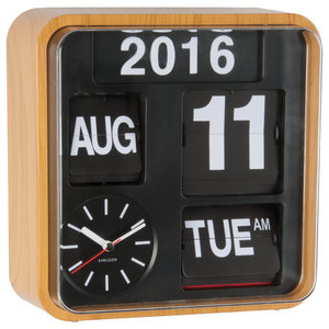 Mini Flip Wall Clock, Wood