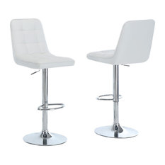 White And Chrome Metal Hydraulic Lift Bar Stools Set Of 2