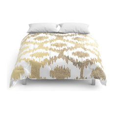 Modern White Hand-Drawn Ikat Pattern Faux Gold Comforter, Queen