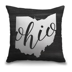 """""""Home State Typography - Ohio"""" Pillow 16""""x16"""""""