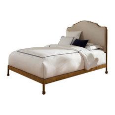 Leggett & Platt - Calvados Bed With Metal Headboard and Sand Upholstery, Natural Oak, King - Panel Beds