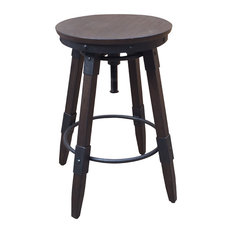 Vintage Industrial Style Swivel Backless Barstool, Distressed Chocolate��_