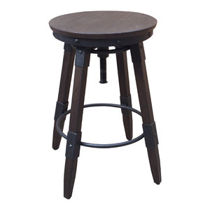 Vintage Industrial Style Swivel Backless Barstool, Distressed Chocolate