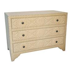 - Arlane French Country Wood Burlap Rivet Dresser - Dressers