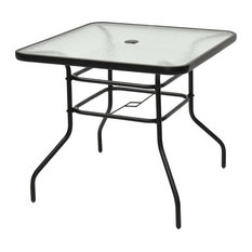 Costway 31 1/2'' Patio Square Table Tempered Glass Steel Frame Outdoor