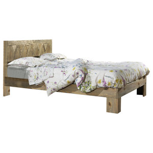 Menta Aged Pine Panel Bed, UK Small Double